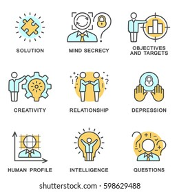 The collection icons human personality psychology. Mental abilities, behavior. Vector illustration concept. The thin contour line. Flat design web graphics elements.