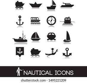 Collection icons with nautical and marine symbols, cruises and sea walks.