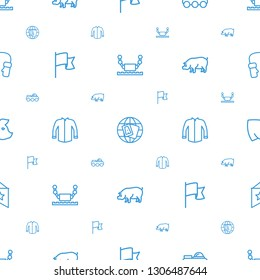 collection icons pattern seamless white background. Included editable outline robot, globe, flag, jacket, pig, mittens icons. collection icons for web and mobile.