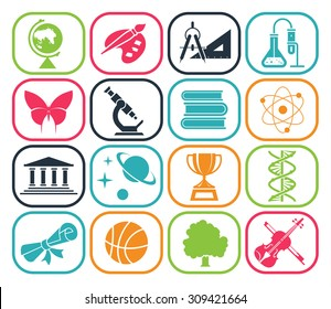Collection of icons presenting different school subjects, science, art, history, geography, chemistry, maths, music, sports. Vector illustration. Back to school. Pictogram icon set. School days.