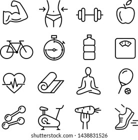 Collection of icons related to healthy lifestyle, healthy eating, diet, exercise, relaxing - Shutterstock ID 1438831526