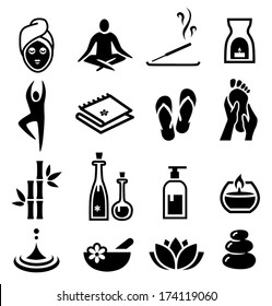 Collection of icons representing wellness, relaxation and spa.