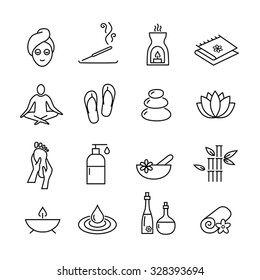 Collection of icons representing wellness, relaxation, cosmetics and healthy lifestyle