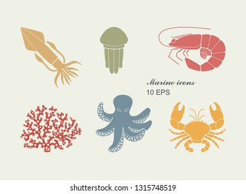 Collection of icons of sea inhabitants. Coral, octopus, jellyfish, crab shrimp squid
