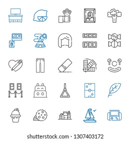 collection icons set. Collection of collection with video games, boat, proteins, cookie, ice cream, leaf, air hockey, holder, painting. Editable and scalable icons.