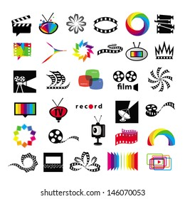 collection of icons tv, video, photo, film