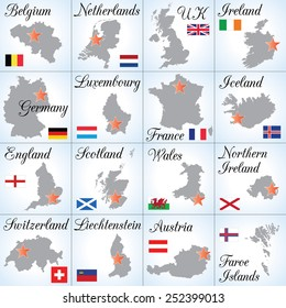 Collection III. Western Europe countries. Sixteen separate illustrations (icons).