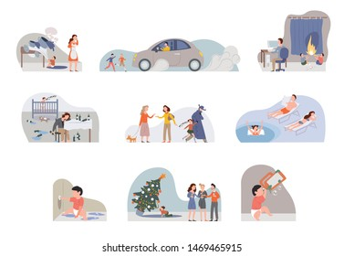Collection of illustration children in dangerous. Parents ignoring babies crying. Kids in accidents without help. Children without parents attention. Irresponsible family concept. Flat cartoon vector