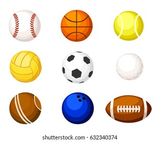 Collection illustration Sports balls. Vector cartoon ball set for soccer and tennis, rugby. Basketball and football balls illustration