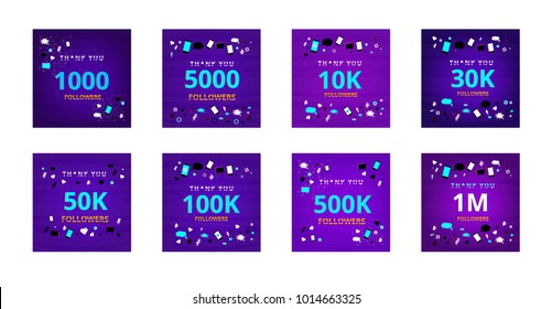 Collection of illustrations about subscribers for social media post. Followers thank you phrases with random items. Chromatic aberration modern style. Banners for blog. Vector illustration.