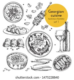 Collection of illustrations of Georgian cuisine. hand drawn sketches with national dishes of Caucasian cuisine. sketch set for menu design
