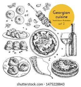 Collection of illustrations of Georgian cuisine. hand drawn sketches with national dishes of Caucasian cuisine. sketch set of appetizers, main course, meat