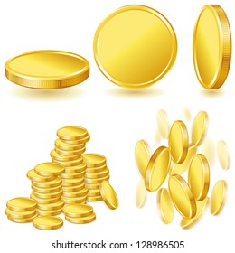 Collection of illustrations, icons of gold coins.
