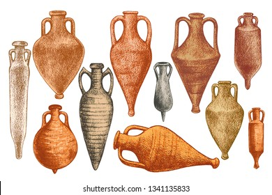 Collection of images of diverse ancient Greek amphorae.