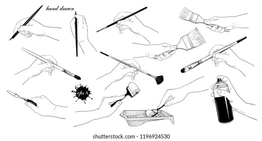 A collection of images of hands with a variety of artistic brushes and tools.Hand drawn vector illustration. Isolated objects on white background. Clipart.
