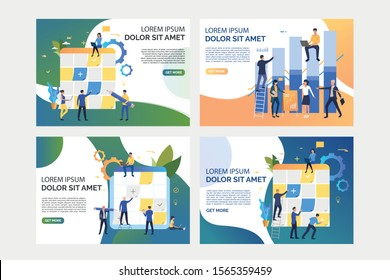 Collection of images with people analysing business and planning. Taskboard, teamwork, optimization. Flat vector illustration. Business process concept for banner, website design or landing web page