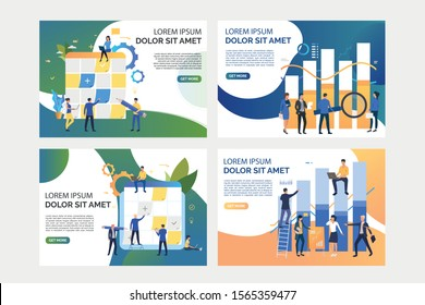 Collection of images with people planning and analysing market. Taskboard, teamwork, optimization. Flat vector illustration. Business process concept for banner, website design or landing web page