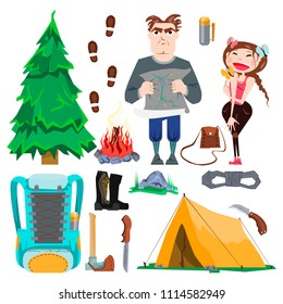 Collection of images Travel, Hike, Summer, Tourist, Characters, Tent, Camping, Bonfire, Backpack, Knife, Equipment, Rope, Military boots, Christmas tree, Part of Landscape in a flat style, cartoon.