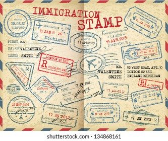 Collection of Immigration stamps.
