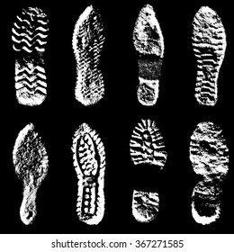 Collection  imprint soles shoes  black  silhouette. Vector illustration.
