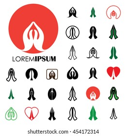 collection of indian womans hand greeting posture of namaste - vector logo icons. this can also represent meditation practice, offering prayers to god, respect to others, welcoming guests, yoga mudra