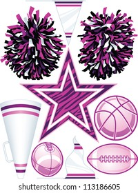 Collection of individually grouped vector cheerleading design elements including football (2views), basketball, pom-poms, pennant (2 views), megaphone, and zebra stripe star.