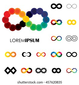 collection of infinity symbols - vector logo icons. this set of signs  can also represent concept of continuum, boundless and limitless, illusion of perpetuity, being unlimited
