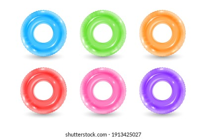 Collection of inflatable rubber rings. Realistic swimming water park or pool lifebuoy. Vector illustration of realistic beach leisure swim ring toys. Concept of safety on summer vacation