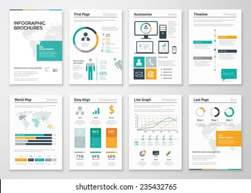 Collection of infographic brochure elements for business data visualization. Vector illustration of modern info graphic metaphor in a flyer concept, use for marketing, website, print, presentation etc