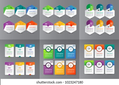 Collection of Infographic design template,Business 3d infographics,can be used for workflow layout, diagram, annual report, web design.banner,label vector