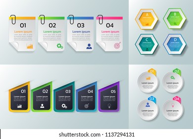 Collection of Infographic design template,Business 3D infographics,can be used for workflow layout, diagram, annual report, web design.banner,label vector.
