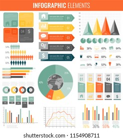 Collection of infographic elements. Template for business and presentations. Infographics set. Vector illustration