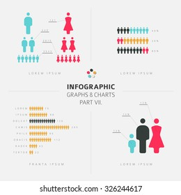 collection of Infographic people elements for your documents and demographic reports