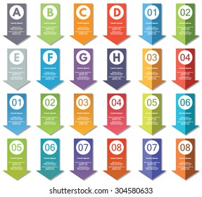 Collection of infographics elements. #23. Can be used for banners, presentations, websites, brochures, diagrams, graphs, flyers, number options etc.