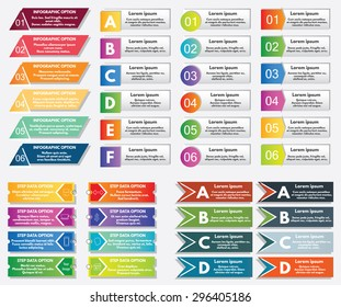 Collection of infographics elements. Can be used for banners, presentations, websites, brochures, diagrams, graphs, flyers, number options etc.