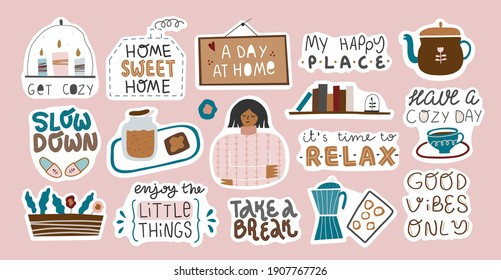 Collection of inspirational quotes and scenes in stickers. Stay home, cozy home, hygge, self love concept. Bundle of decoration for daily planner, diaries, scrapbooking isolated. Vector cartoon.