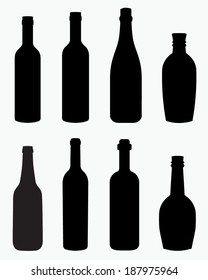 A collection of interesting alcohol, beer, liquor and wine bottle silhouettes.