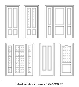 Collection Interior Doors, Technical Drawing. Classic Interior Doors    Simple Sketch For Your Design