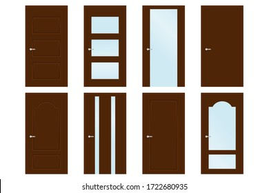 Collection of interior doors. Wooden doors with glass design elements. Vector illustration isolated on white background