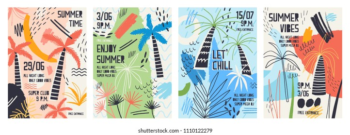 Collection of invitation or poster templates decorated with tropical palm trees, paint stains, blots and scribble for summer open air dance party. Vector illustration for summertime event promotion