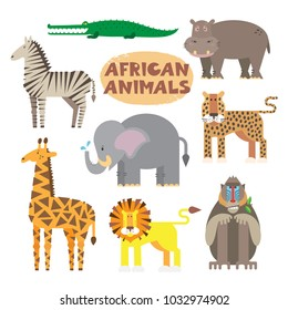 Collection of isolated african animals. Vector illustration. Cartoonish primitive style.