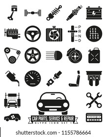 Collection of isolated car parts, service and repair glyph icons. Automotive symbols set 1.