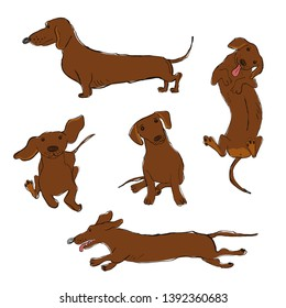 Collection of isolated Dachshund dog icons. Funny cartoon dog character set.