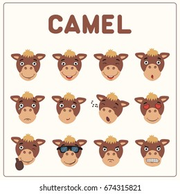 Collection of isolated funny muzzle camel with different emotion.