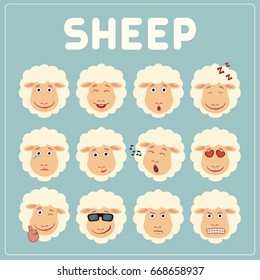 Collection isolated funny muzzle sheep with different emotion.