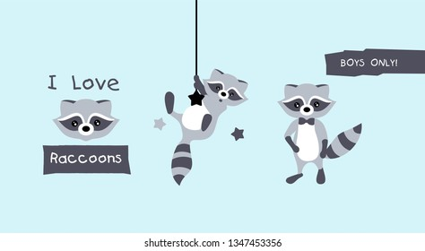 Collection isolated funny raccoon. Emotion little raccoon. Vector set cute raccoon. Cartoon raccoon in children style. Posters in the kids room.