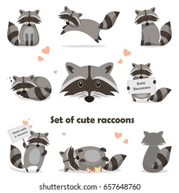 Collection isolated funny raccoon. Emotion little raccoon. Vector set cute raccoon. Cartoon raccoon in children style.