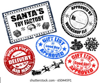 Collection of isolated grunge Christmas stamps on white background