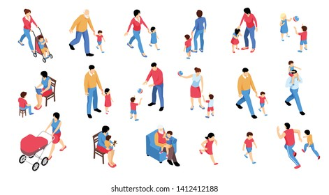 Collection of isolated isometric family baby kids children human characters with various items on blank background vector illustration