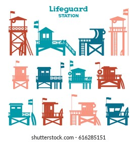 Collection of isolated lifeguard stations on a white background. Vector illustration with silhouette of lifeguard towers.